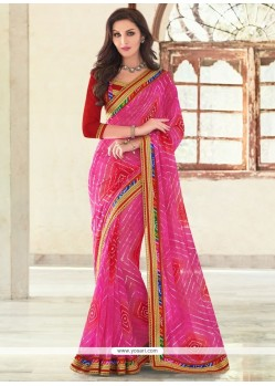 Voluptuous Georgette Patch Border Work Printed Saree