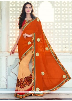 Delectable Georgette Orange Classic Saree