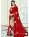 Invaluable Embroidered Work Red Classic Saree