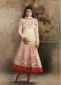 EMB. Work Off White Anarkali Suit
