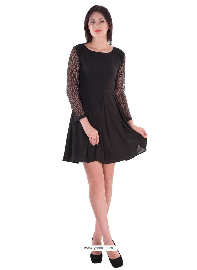 Flamboyant Georgette Black Plain Work Party Wear Kurti