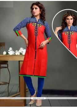 Aesthetic Red Party Wear Kurti