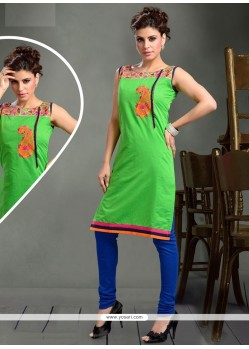 Conspicuous Green Print Work Party Wear Kurti