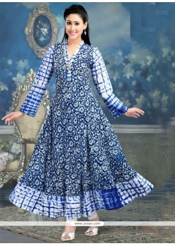 Mystic Print Work Blue Party Wear Kurti
