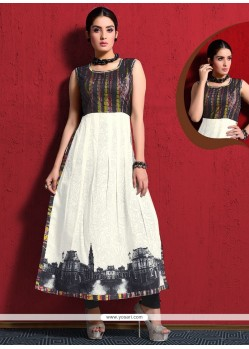 Strange Jacquard Off White Party Wear Kurti