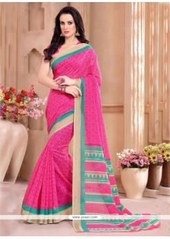 Titillating Hot Pink Silk Casual Saree