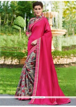Sorcerous Hot Pink Printed Saree