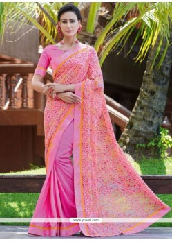 Fab Pink Print Work Fancy Fabric Printed Saree