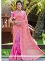 Fab Pink Print Work Fancy Fabric Printed Saree
