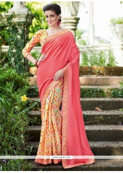 Print Fancy Fabric Printed Saree In Pink
