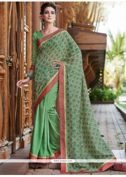 Fine Sea Green Print Work Printed Saree