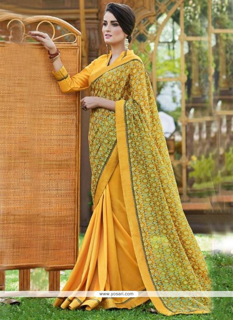 Beckoning Print Work Fancy Fabric Printed Saree