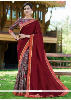 Modernistic Print Work Fancy Fabric Printed Saree