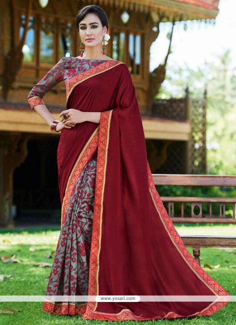 Modernistic Print Work Fancy Fabric Printed Saree