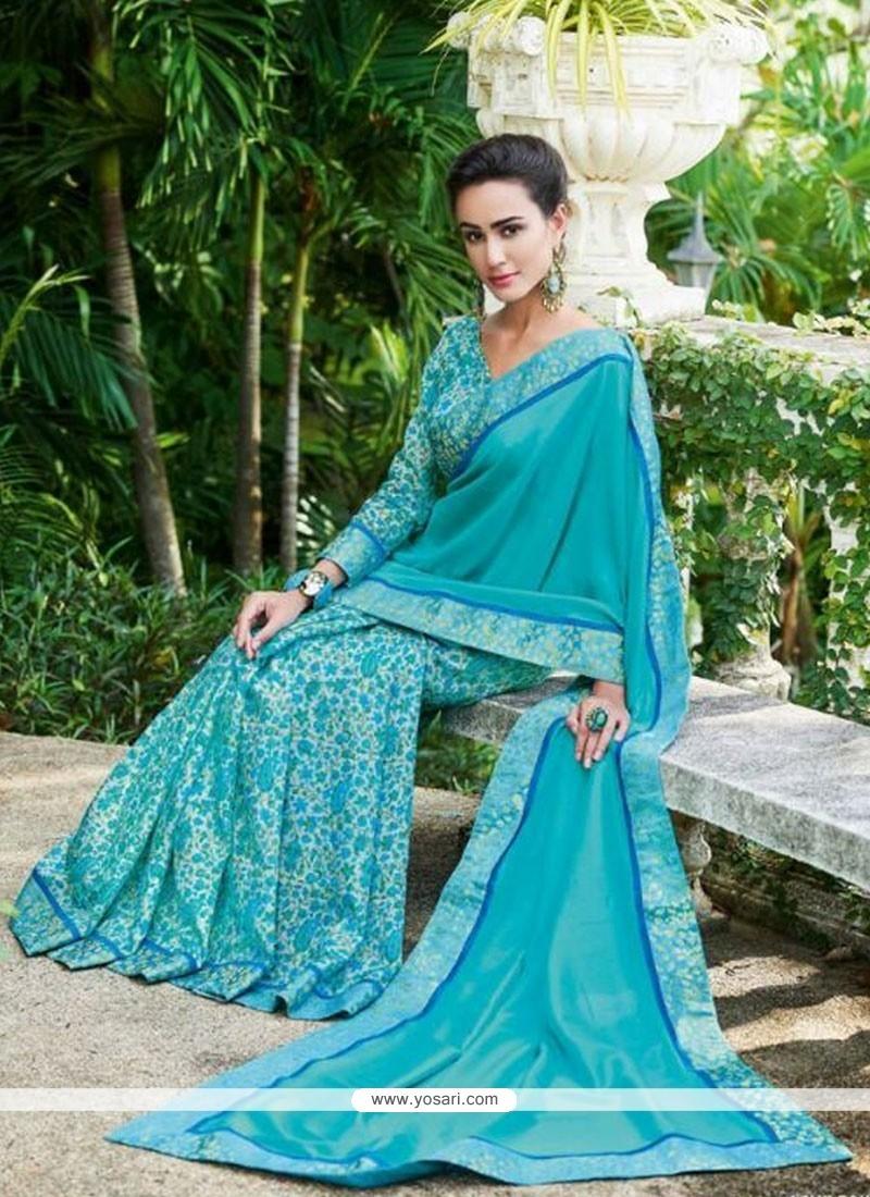 Perfervid Print Work Fancy Fabric Printed Saree