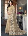 Mesmerizing Beige Embroidered Work Fancy Fabric Designer Saree
