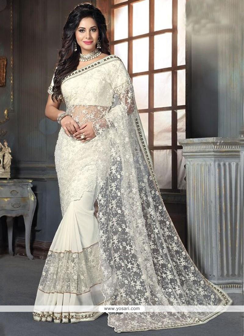 0e180bcd6a Buy Lavish Georgette Off White Traditional Designer Sarees | Wedding ...