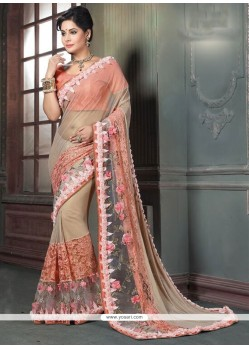 Awesome Peach Embroidered Work Classic Designer Saree