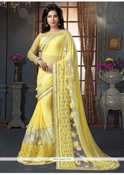 Patch Border Fancy Fabric Designer Saree In Yellow
