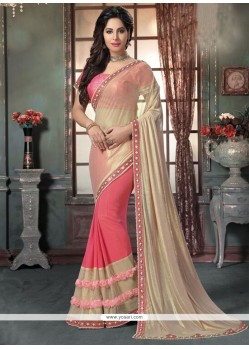 Intricate Georgette Pink Traditional Saree