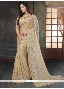 Suave Fancy Fabric Cream Classic Designer Saree