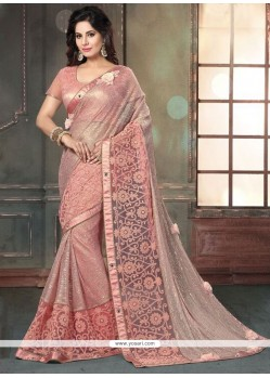 Celestial Embroidered Work Pink Designer Saree