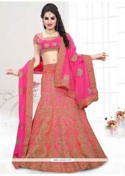 Embroidered Art Silk A Line Lehenga Choli In Pink