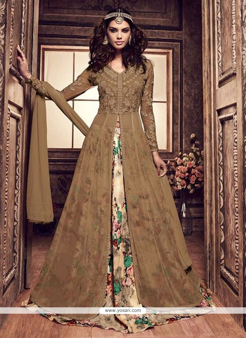 Ruritanian Banarasi Silk Brown Lehenga Choli
