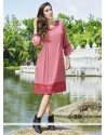 Appealing Pink Embroidered Work Georgette Party Wear Kurti