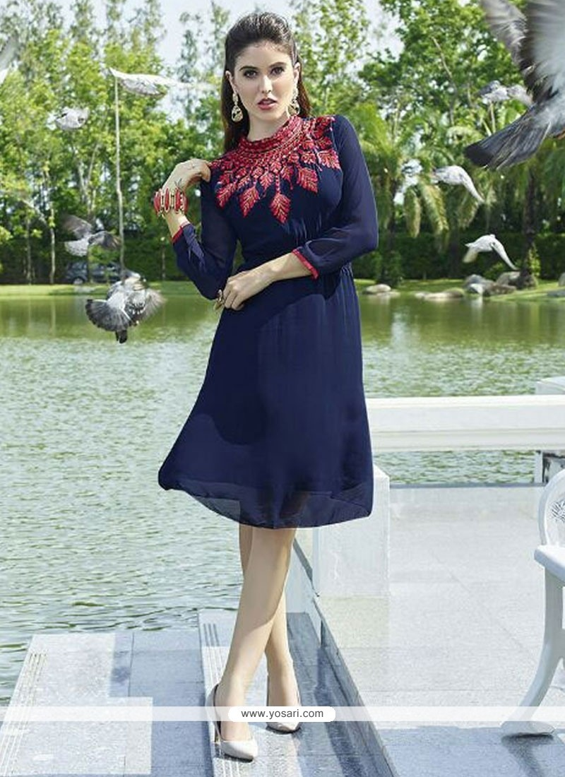 Embroidered Georgette Party Wear Kurti In Navy Blue