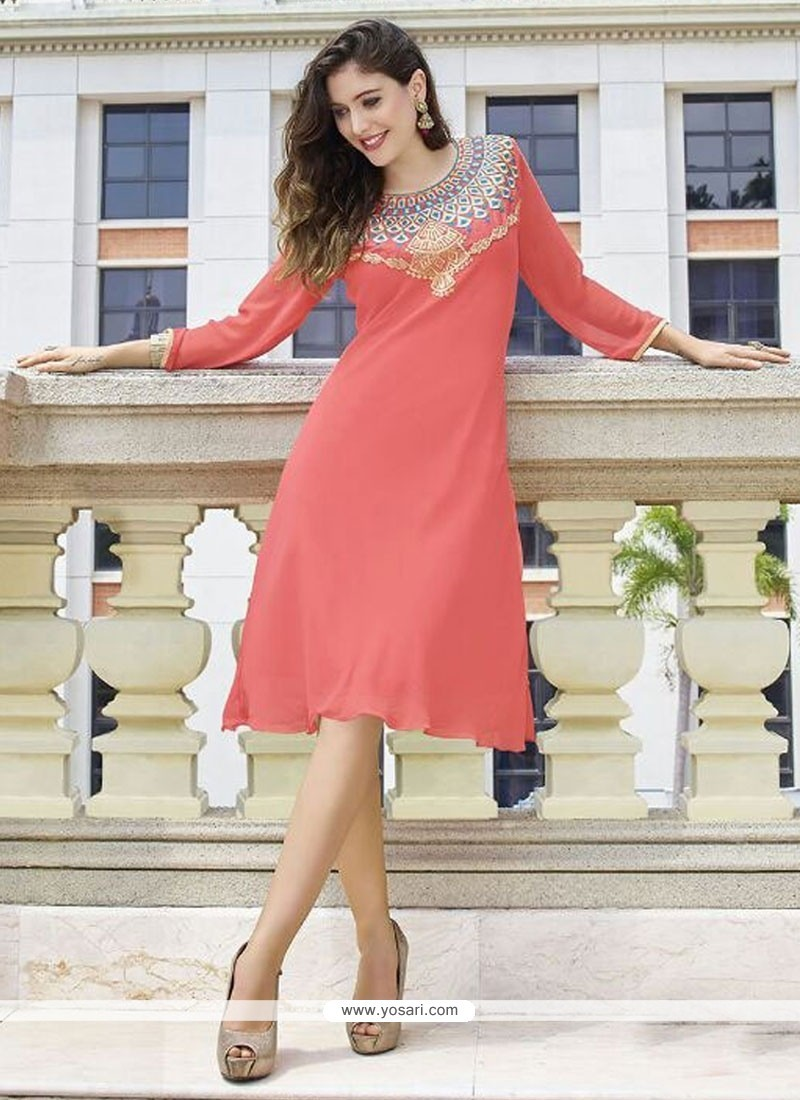 Especial Georgette Peach Embroidered Work Party Wear Kurti