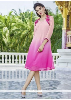 Glowing Georgette Embroidered Work Party Wear Kurti