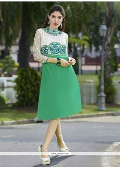 Entrancing Green Party Wear Kurti