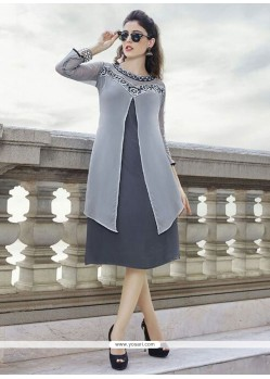 Ideal Grey Embroidered Work Georgette Party Wear Kurti