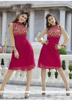 Vivid Magenta Embroidered Work Georgette Party Wear Kurti