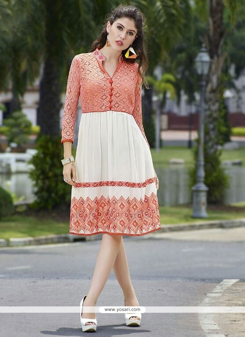 Sensational Peach Embroidered Work Party Wear Kurti