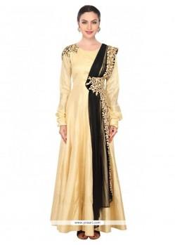 Hypnotizing Embroidered Work Net Gold Designer Salwar Kameez