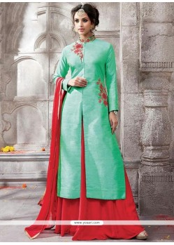 Sightly Embroidered Work Sea Green Silk Floor Length Suit
