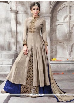 Engrossing Cotton Blue And Grey Floor Length Suit