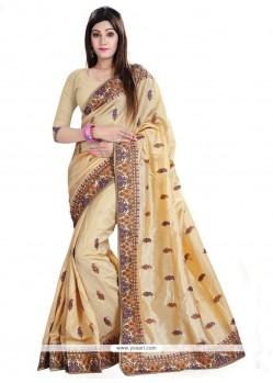 Auspicious Embroidered Work Beige Classic Designer Saree