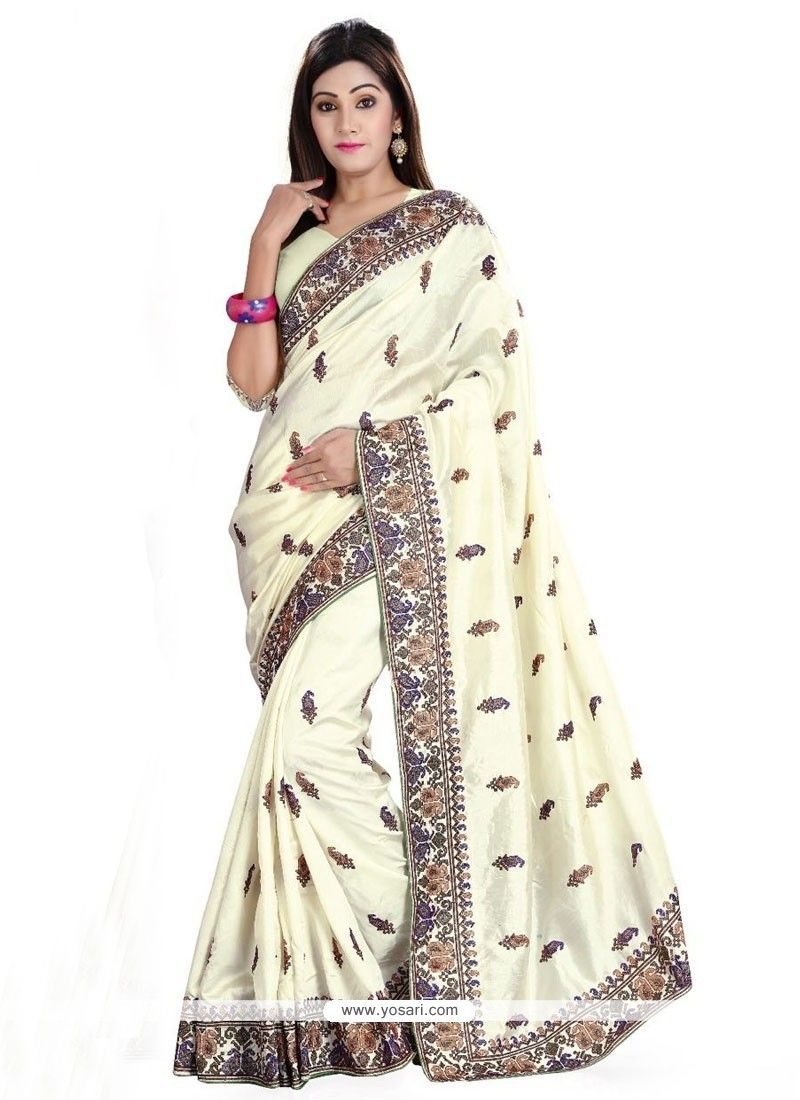 Modern Embroidered Work Off White Designer Traditional Sarees