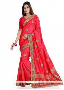 Embroidered Art Silk Classic Saree In Red