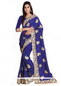 Precious Navy Blue Patch Border Work Classic Designer Saree