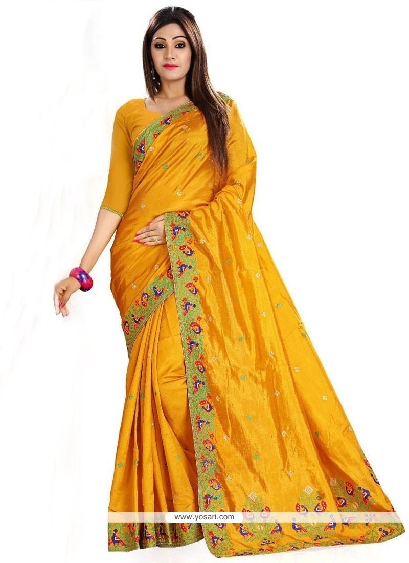 Tiptop Art Silk Embroidered Work Classic Saree