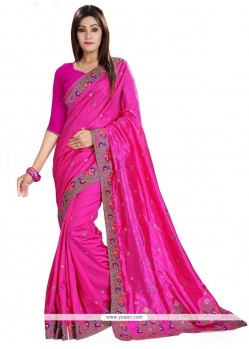 Magnificent Hot Pink Embroidered Work Classic Designer Saree