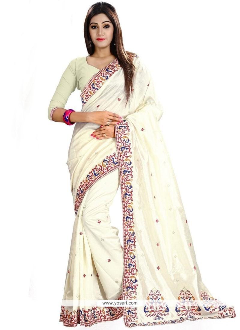 Blissful Patch Border Work Art Silk Traditional Designer Sarees