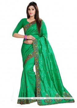 Especial Embroidered Work Green Classic Saree