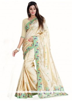 Strange Embroidered Work Art Silk Traditional Saree