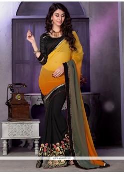 Glorious Black Patch Border Work Classic Designer Saree