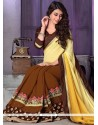Paramount Patch Border Work Brown Georgette Traditional Saree